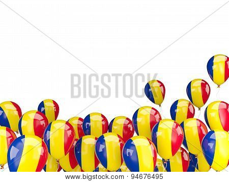 Flying Balloons With Flag Of Romania