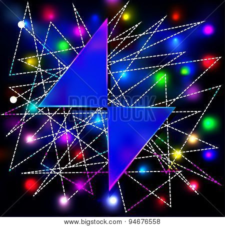 abstract background with two triangles for the text and the neon glow