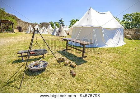 Medieval Style Tent And Camp Fire.