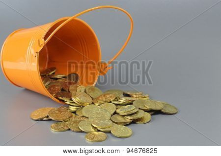 Gold Coins And Bucket - Business Concept