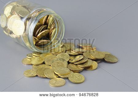 Gold Coins And Jar - Business Concept