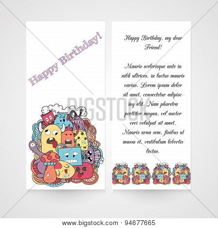Card with abstract monsters pattern.