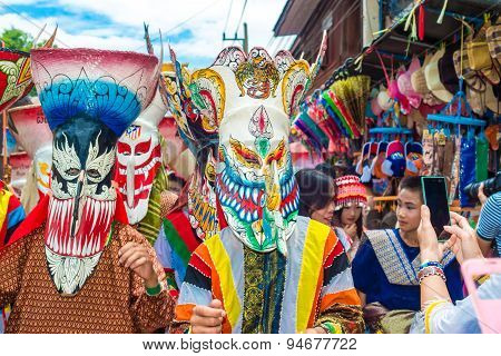Annual Thai Ghost Festival in Thailand northern province of Loei on June 27 2015