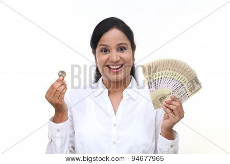 Excited Businesswoman Holding Indian Currency Notes