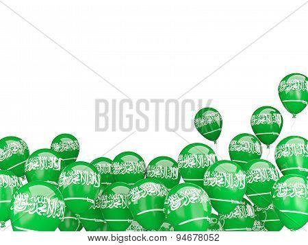 Flying Balloons With Flag Of Saudi Arabia