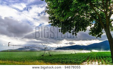 Auto Irrigation Systems On French Rural Fields. Agricultural Concept.