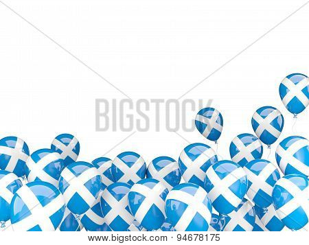 Flying Balloons With Flag Of Scotland