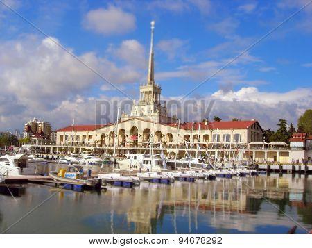 Seaport of Sochi - effect tilt-shif.
