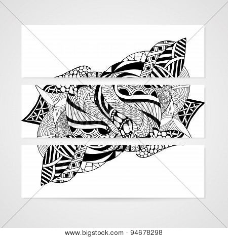 Banner with abstract hand-drawn pattern.