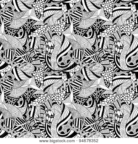 Abstract hand-drawn seamless pattern.