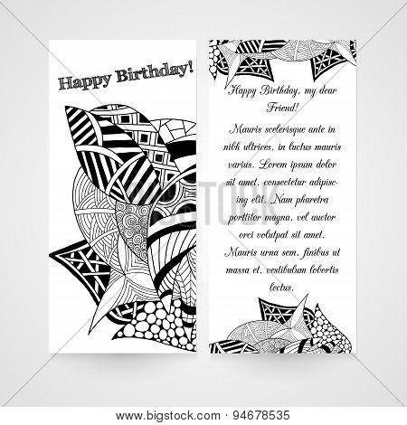 Designe greeting card with abstract hand drawn pattern