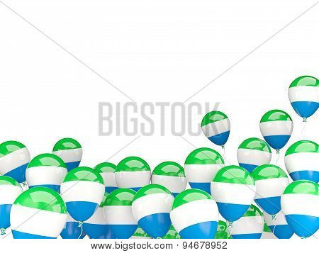 Flying Balloons With Flag Of Sierra Leone