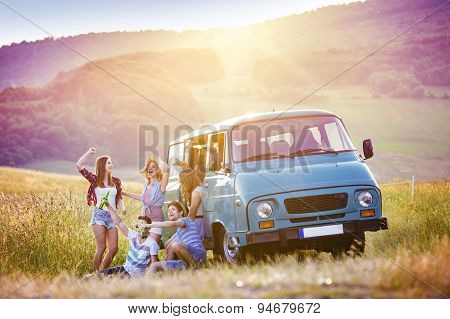 Teenagers on roadtrip