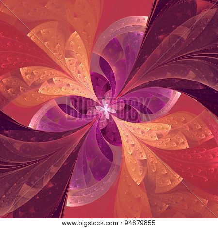 Beautiful Diagonal Fractal Flower In Stained-glass Window Style. Pink And Purple.