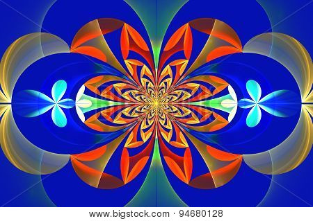 Fabulous Symmetrical Pattern Of The Leaves. Orange And Blue Palette. Computer Graphics.