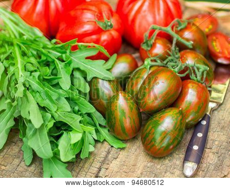 Fresh Vegetables - Tomatoes And Arugula