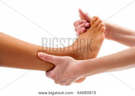 Therapist Doing Osteopathic Reflexology Massage