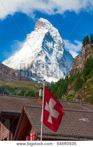 Matterhorn with Swiss flag