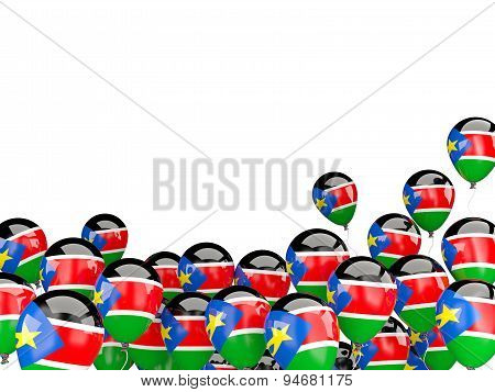 Flying Balloons With Flag Of South Sudan