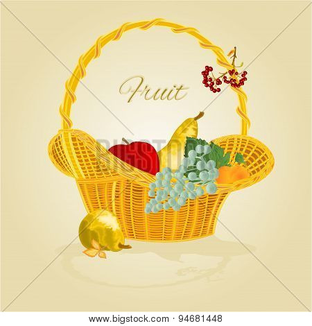 Fruit In A Wicker Basket Vector