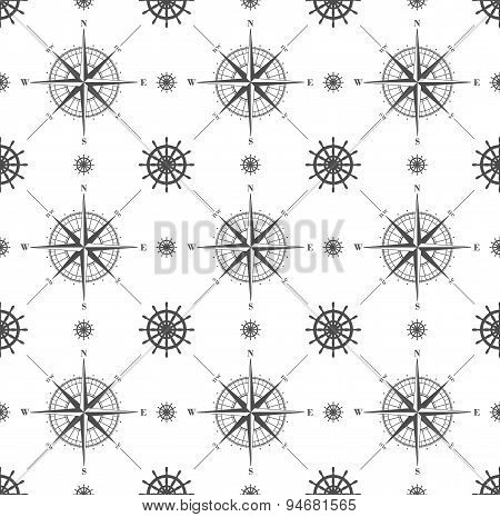 Seamless pattern with windrose