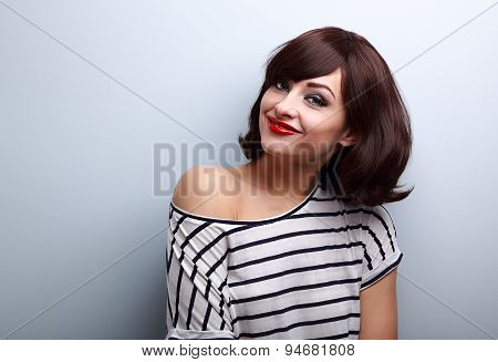 Happy Casual Young Smiling Woman With Short Hairstyle Looking