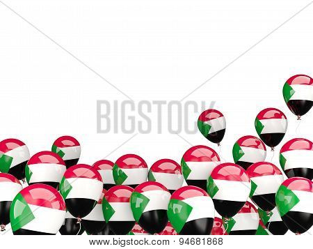 Flying Balloons With Flag Of Sudan