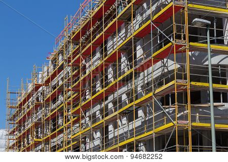 building facade with scaffolding