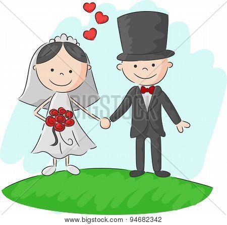 Cartoon Wedding ceremony bride and groom