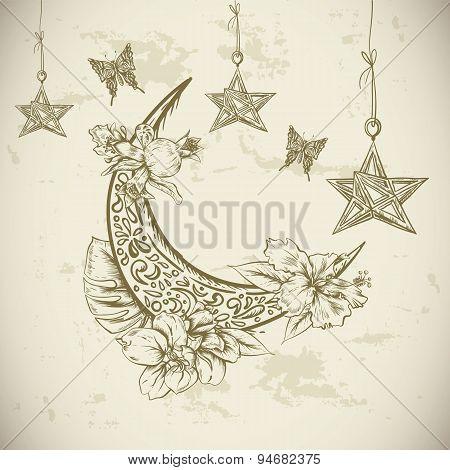 Traditional greeting card with arabic flowers, stars and moon, Ramadan Kareem hand drawn vector illu