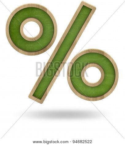 Green percent sign isolated on white
