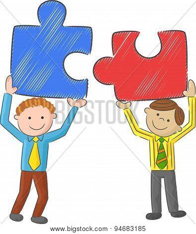 Cartoon men holding big puzzle