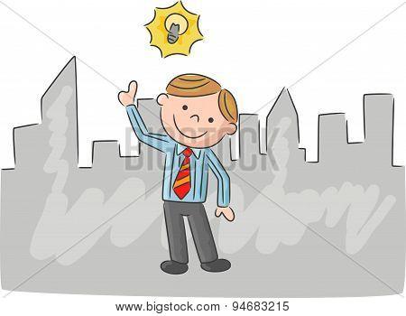 Cartoon man with idea light bulb over head