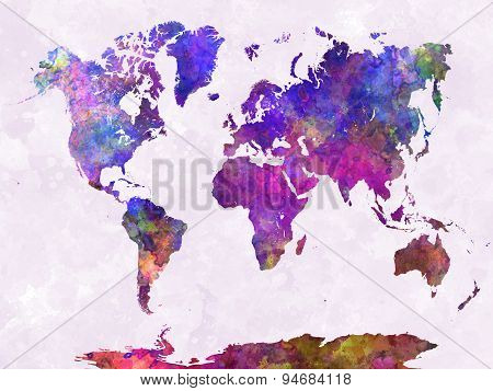 World Map In Watercolor Purple Warm