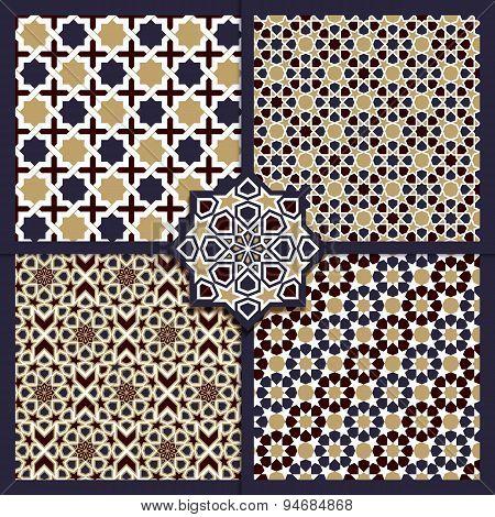 Seamless Islamic Color Patterns Set