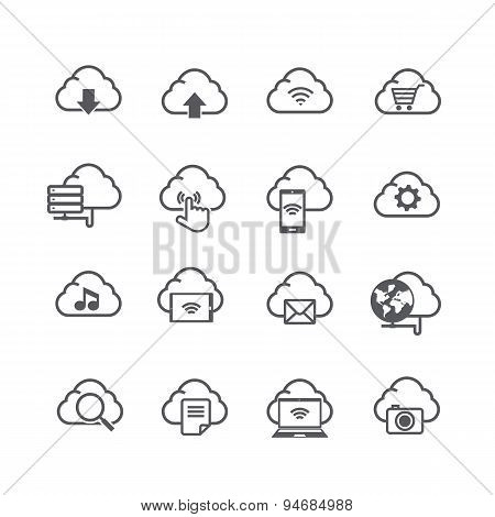 Set Of Cloud Computer And Social Network Connection Icon Isolated On White Background