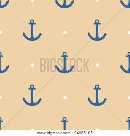 Tile sailor vector pattern with blue anchor and polka dots on pastel background