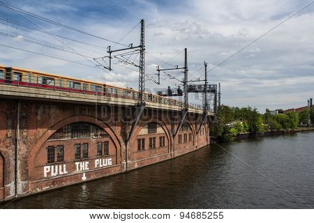 berlin cityscape, river spree and train