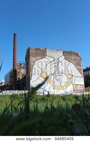 Huge street art on building in berlin, kreuzberg