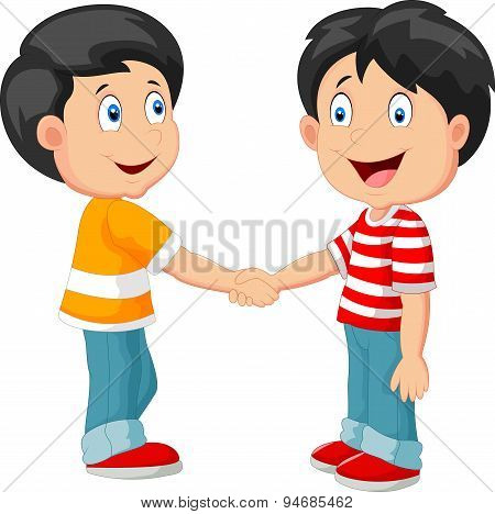 Little boys cartoon holding hand