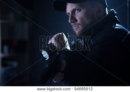 Cop Pointing Pistol