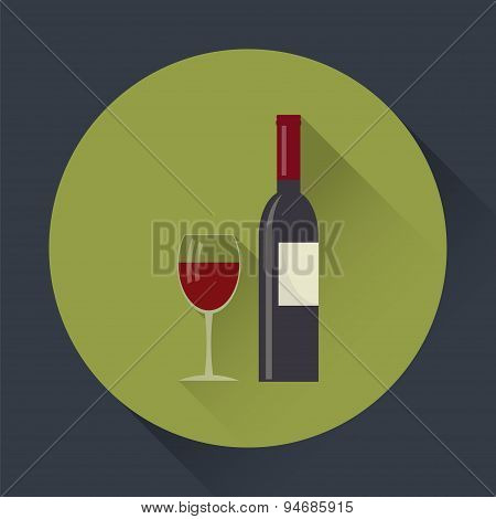 Wine Bottle And Wine Glass Flat Round Icon.