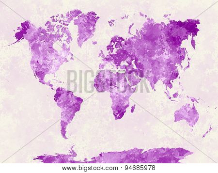 World Map In Watercolor Pink