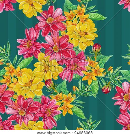 seamless pattern of dahlia flowers with leaves and smaller flowe