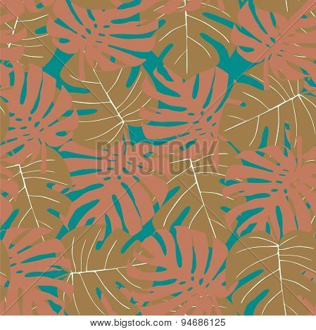 Seamless camouflage pattern of palm leaves