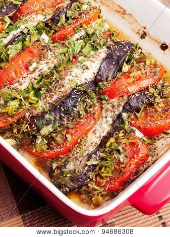 Baked Eggplants With Tomatos