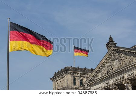 German flag on Reichstag building, Berlin