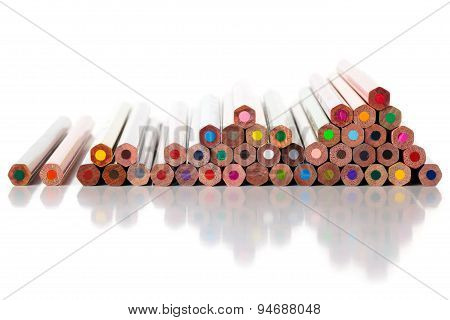 Heap Of Colorful Pencils  Isolated On White.