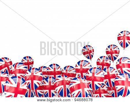 Flying Balloons With Flag Of United Kingdom
