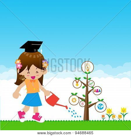 Cute Little Girl With Tree Education Concept On Nature Background With Green Grass Flowers And Blue